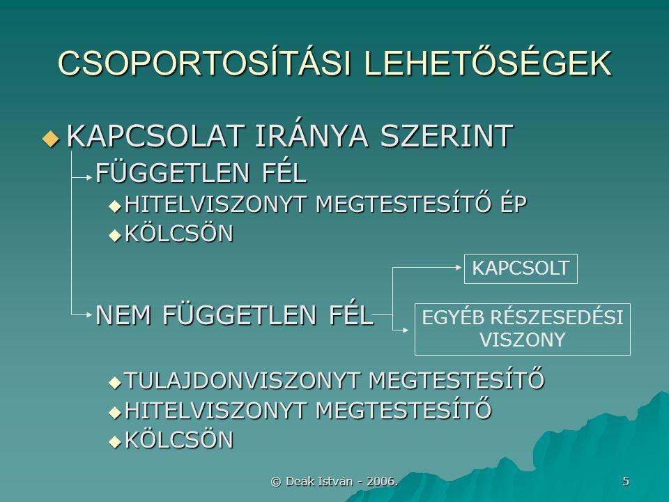 © Deák István - 2006.6 MEGJELENÉS A MÉRLEGBEN A/III.