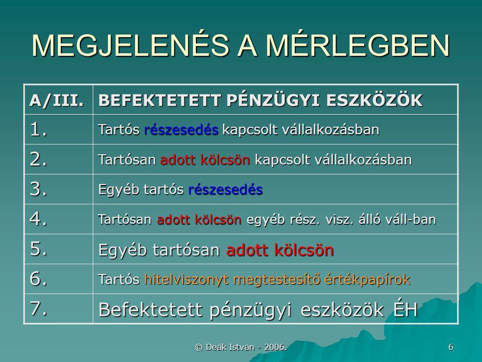 © Deák István - 2006.27 HITELVISZONYT MEGTESTESÍTŐ ÉRTÉKPAPÍROK (sztv.
