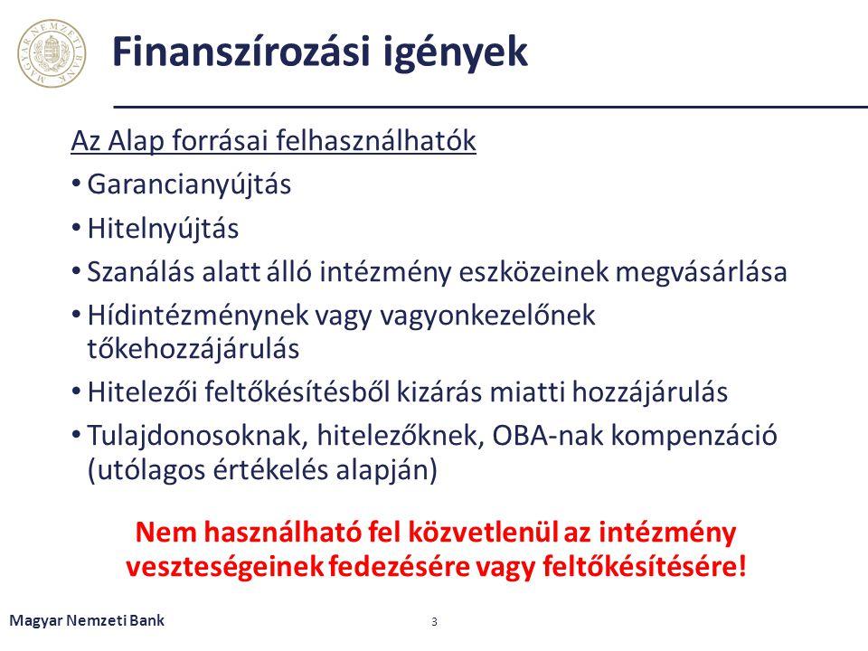 Finanszírozási igények Az Alap forrásai felhasználhatók Garancianyújtás Hitelnyújtás Szanálás alatt álló intézmény eszközeinek megvásárlása Hídintézmé