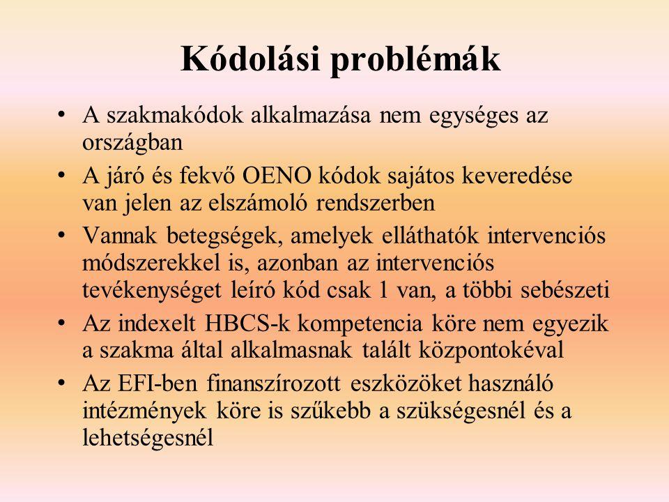 Kódolási problémák A szakmakódok alkalmazása nem egységes az országban A járó és fekvő OENO kódok sajátos keveredése van jelen az elszámoló rendszerbe