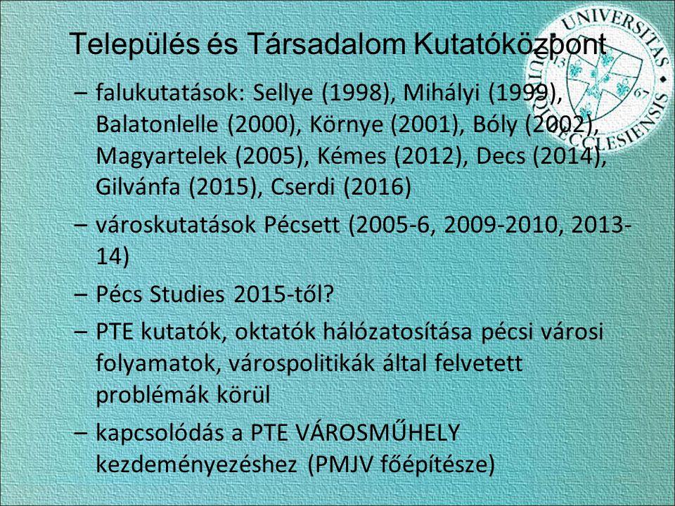 Település és Társadalom Kutatóközpont –falukutatások: Sellye (1998), Mihályi (1999), Balatonlelle (2000), Környe (2001), Bóly (2002), Magyartelek (2005), Kémes (2012), Decs (2014), Gilvánfa (2015), Cserdi (2016) –városkutatások Pécsett (2005-6, 2009-2010, 2013- 14) –Pécs Studies 2015-től.