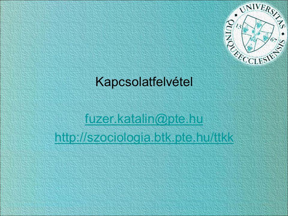Kapcsolatfelvétel fuzer.katalin@pte.hu http://szociologia.btk.pte.hu/ttkk