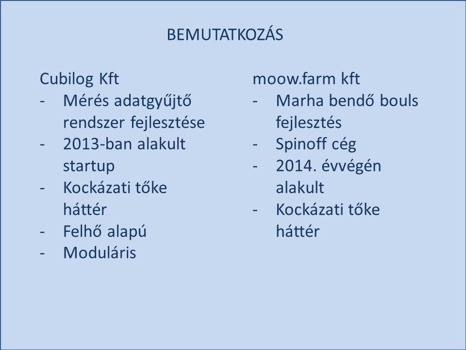 BEMUTATKOZÁS Cubilog Kft -Mérés adatgyűjtő rendszer fejlesztése -2013-ban alakult startup -Kockázati tőke háttér -Felhő alapú -Moduláris moow.farm kft
