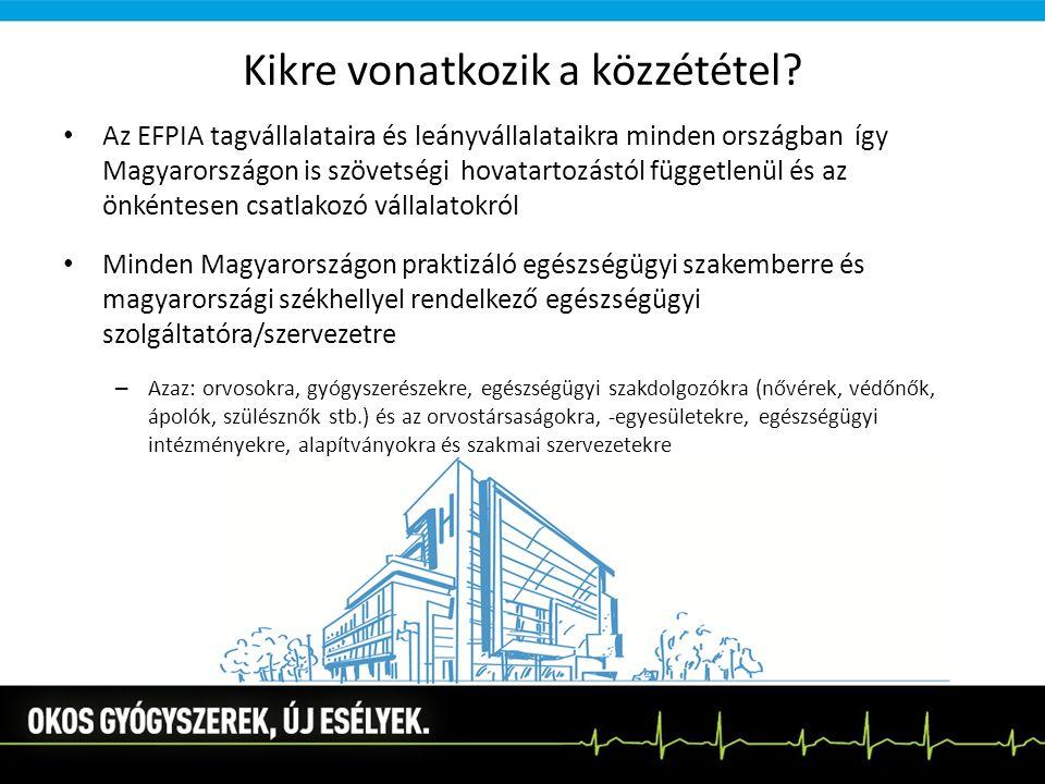 Kikre vonatkozik a közzététel? Az EFPIA tagvállalataira és leányvállalataikra minden országban így Magyarországon is szövetségi hovatartozástól függet