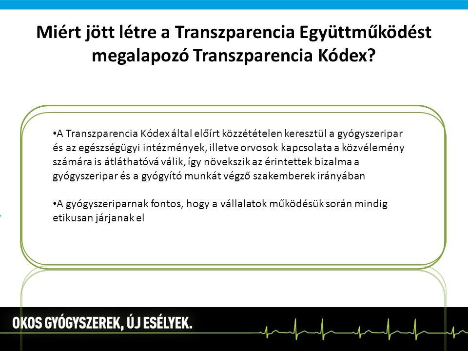 Miért jött létre a Transzparencia Együttműködést megalapozó Transzparencia Kódex? A Transzparencia Kódex által előírt közzétételen keresztül a gyógysz