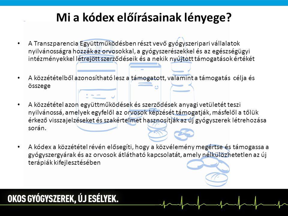 Mi a kódex előírásainak lényege? A Transzparencia Együttműködésben részt vevő gyógyszeripari vállalatok nyilvánosságra hozzák az orvosokkal, a gyógysz