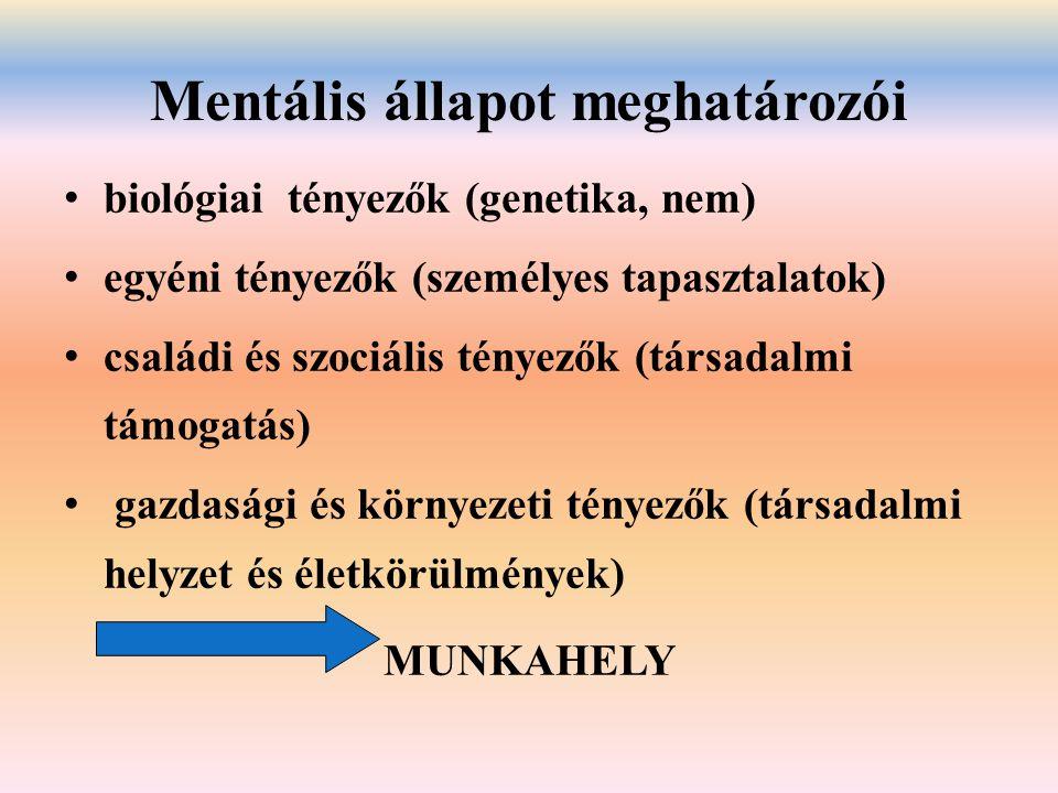 Mentális állapot meghatározói biológiai tényezők (genetika, nem) egyéni tényezők (személyes tapasztalatok) családi és szociális tényezők (társadalmi t