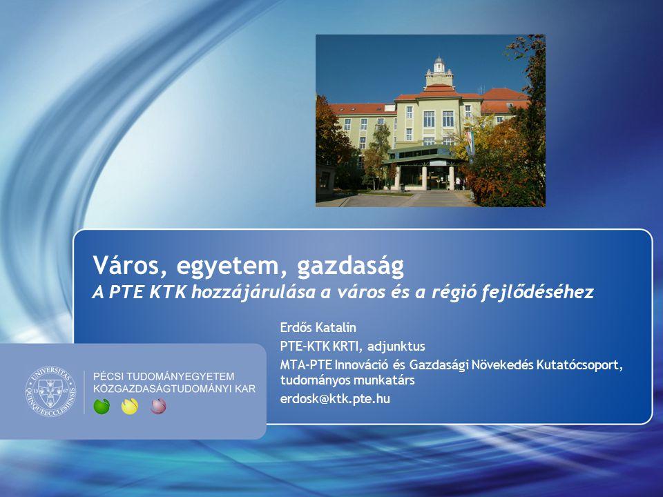 Város, egyetem, gazdaság A PTE KTK hozzájárulása a város és a régió fejlődéséhez Erdős Katalin PTE-KTK KRTI, adjunktus MTA-PTE Innováció és Gazdasági Növekedés Kutatócsoport, tudományos munkatárs erdosk@ktk.pte.hu
