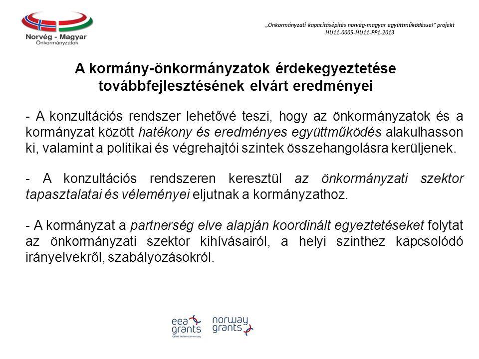"""""""Önkormányzati kapacitásépítés norvég‐magyar együttműködéssel projekt HU11-0005-HU11-PP1-2013 A kormány-önkormányzatok érdekegyeztetése továbbfejlesztésének elvárt eredményei - A konzultációs rendszer lehetővé teszi, hogy az önkormányzatok és a kormányzat között hatékony és eredményes együttműködés alakulhasson ki, valamint a politikai és végrehajtói szintek összehangolásra kerüljenek."""
