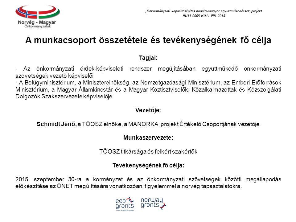 """""""Önkormányzati kapacitásépítés norvég‐magyar együttműködéssel projekt HU11-0005-HU11-PP1-2013 A munkacsoport összetétele és tevékenységének fő célja Tagjai: - Az önkormányzati érdek-képviseleti rendszer megújításában együttműködő önkormányzati szövetségek vezető képviselői - A Belügyminisztérium, a Miniszterelnökség, az Nemzetgazdasági Minisztérium, az Emberi Erőforrások Minisztérium, a Magyar Államkincstár és a Magyar Köztisztviselők, Közalkalmazottak és Közszolgálati Dolgozók Szakszervezete képviselője Vezetője: Schmidt Jenő, a TÖOSZ elnöke, a MANORKA projekt Értékelő Csoportjának vezetője Munkaszervezete: TÖOSZ titkársága és felkért szakértők Tevékenységének fő célja: 2015."""