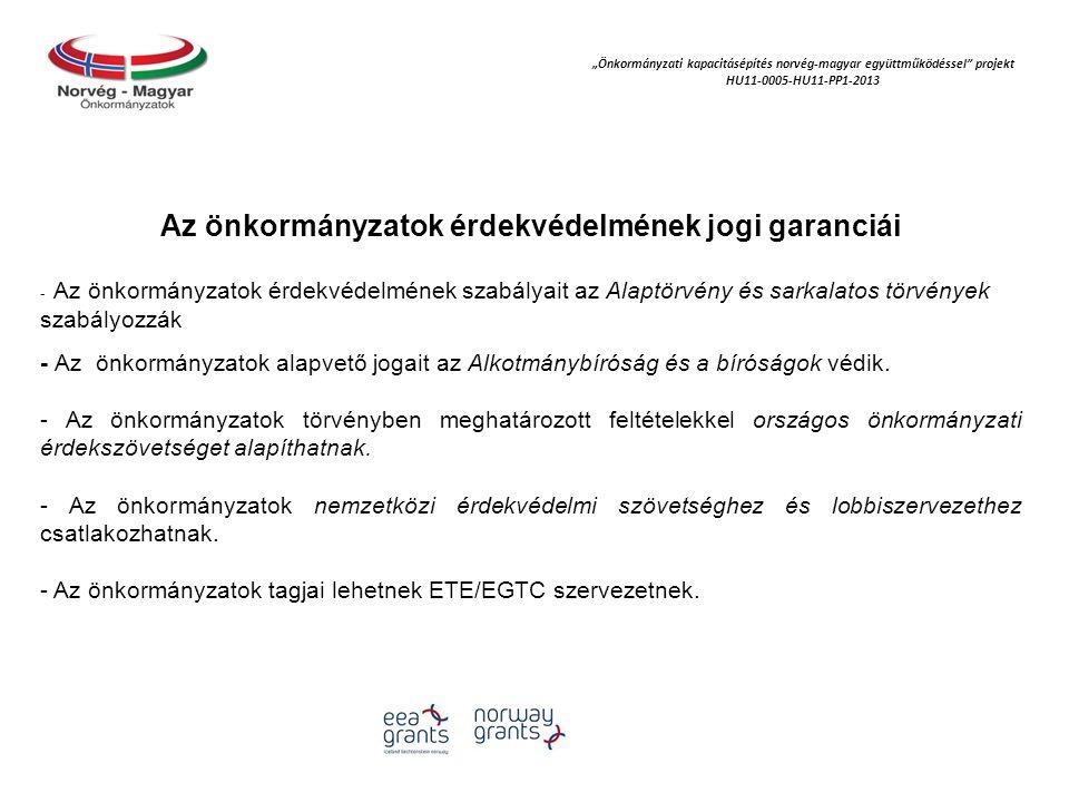 """""""Önkormányzati kapacitásépítés norvég‐magyar együttműködéssel projekt HU11-0005-HU11-PP1-2013 Az önkormányzatok érdekvédelmének jogi garanciái - Az önkormányzatok érdekvédelmének szabályait az Alaptörvény és sarkalatos törvények szabályozzák - Az önkormányzatok alapvető jogait az Alkotmánybíróság és a bíróságok védik."""