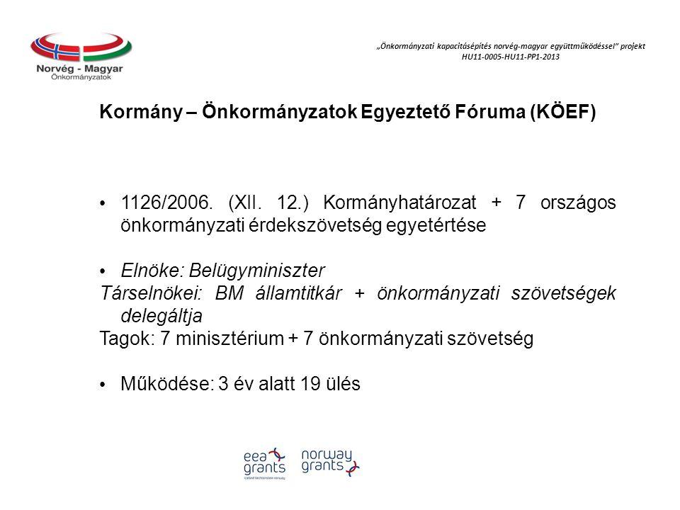 """""""Önkormányzati kapacitásépítés norvég‐magyar együttműködéssel projekt HU11-0005-HU11-PP1-2013 KÖEF elnöke a belügyminiszter, társelnökei a BM államtitkár és a szövetségek által delegált elnök, hét tárca és hét szövetség A KÖEF csaknem hároméves időszakában összesen 19 plenáris ülést tartott."""