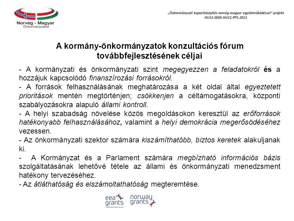 """""""Önkormányzati kapacitásépítés norvég‐magyar együttműködéssel projekt HU11-0005-HU11-PP1-2013 A kormány-önkormányzatok konzultációs fórum továbbfejlesztésének céljai - A kormányzati és önkormányzati szint megegyezzen a feladatokról és a hozzájuk kapcsolódó finanszírozási forrásokról."""