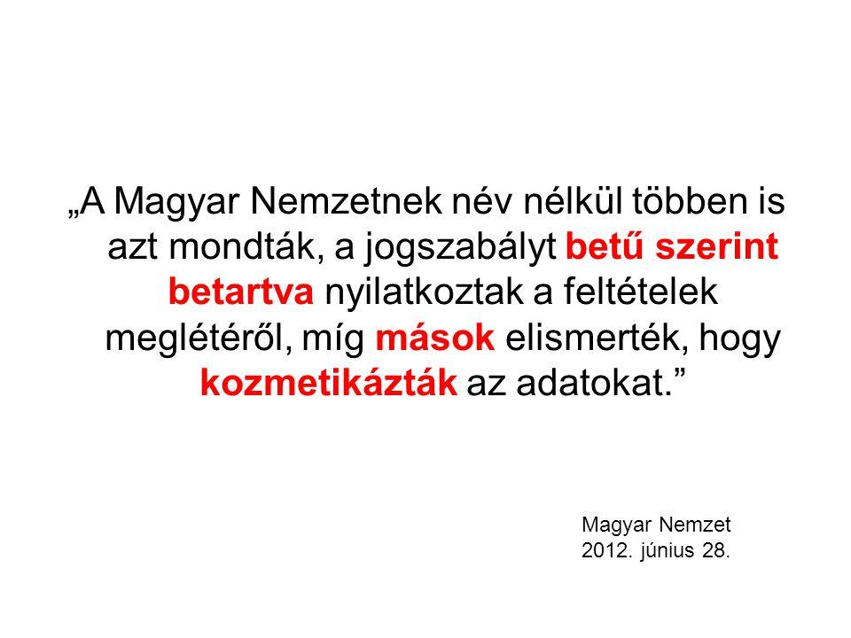 """""""A Magyar Nemzetnek név nélkül többen is azt mondták, a jogszabályt betű szerint betartva nyilatkoztak a feltételek meglétéről, míg mások elismerték, hogy kozmetikázták az adatokat. Magyar Nemzet 2012."""