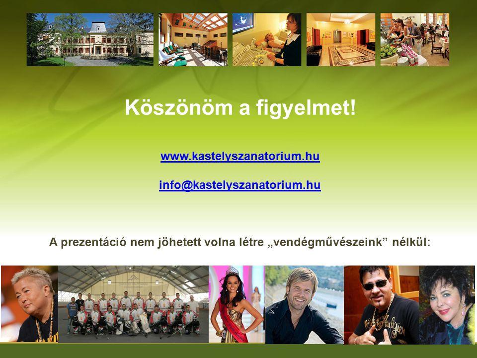 """Köszönöm a figyelmet! www.kastelyszanatorium.hu info@kastelyszanatorium.hu A prezentáció nem jöhetett volna létre """"vendégművészeink"""" nélkül:"""