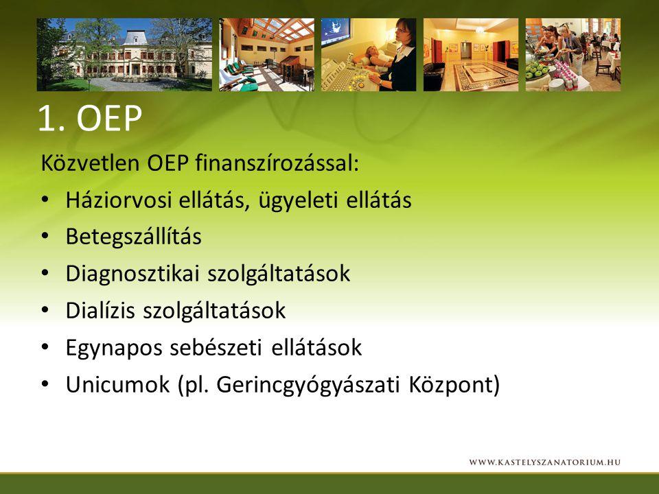 1. OEP Közvetlen OEP finanszírozással: Háziorvosi ellátás, ügyeleti ellátás Betegszállítás Diagnosztikai szolgáltatások Dialízis szolgáltatások Egynap
