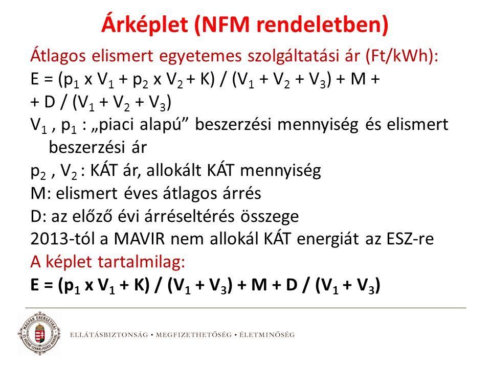 """Árképlet (NFM rendeletben) Átlagos elismert egyetemes szolgáltatási ár (Ft/kWh): E = (p 1 x V 1 + p 2 x V 2 + K) / (V 1 + V 2 + V 3 ) + M + + D / (V 1 + V 2 + V 3 ) V 1, p 1 : """"piaci alapú beszerzési mennyiség és elismert beszerzési ár p 2, V 2 : KÁT ár, allokált KÁT mennyiség M: elismert éves átlagos árrés D: az előző évi árréseltérés összege 2013-tól a MAVIR nem allokál KÁT energiát az ESZ-re A képlet tartalmilag: E = (p 1 x V 1 + K) / (V 1 + V 3 ) + M + D / (V 1 + V 3 )"""