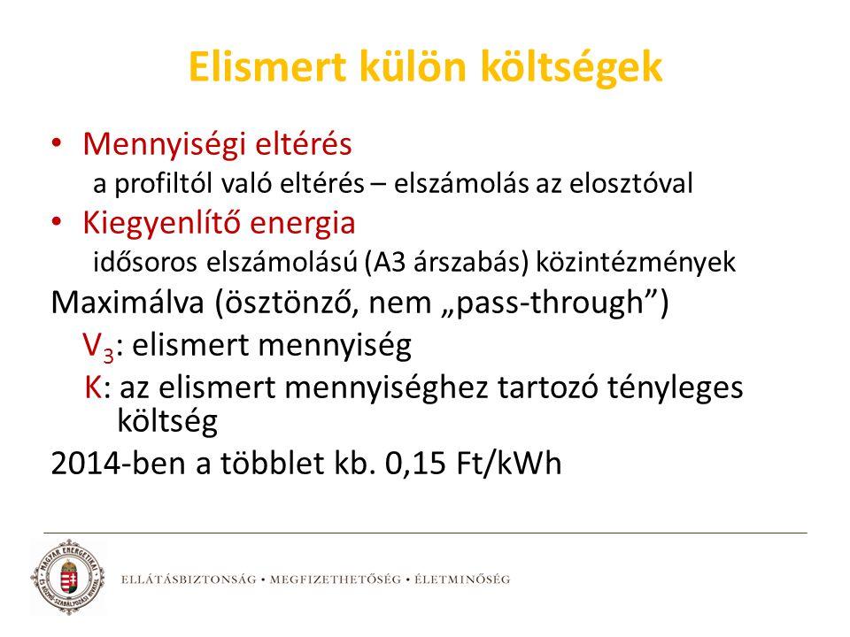 """Elismert külön költségek Mennyiségi eltérés a profiltól való eltérés – elszámolás az elosztóval Kiegyenlítő energia idősoros elszámolású (A3 árszabás) közintézmények Maximálva (ösztönző, nem """"pass-through ) V 3 : elismert mennyiség K: az elismert mennyiséghez tartozó tényleges költség 2014-ben a többlet kb."""