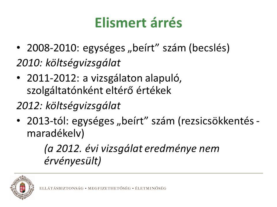 """Elismert árrés 2008-2010: egységes """"beírt szám (becslés) 2010: költségvizsgálat 2011-2012: a vizsgálaton alapuló, szolgáltatónként eltérő értékek 2012: költségvizsgálat 2013-tól: egységes """"beírt szám (rezsicsökkentés - maradékelv) (a 2012."""
