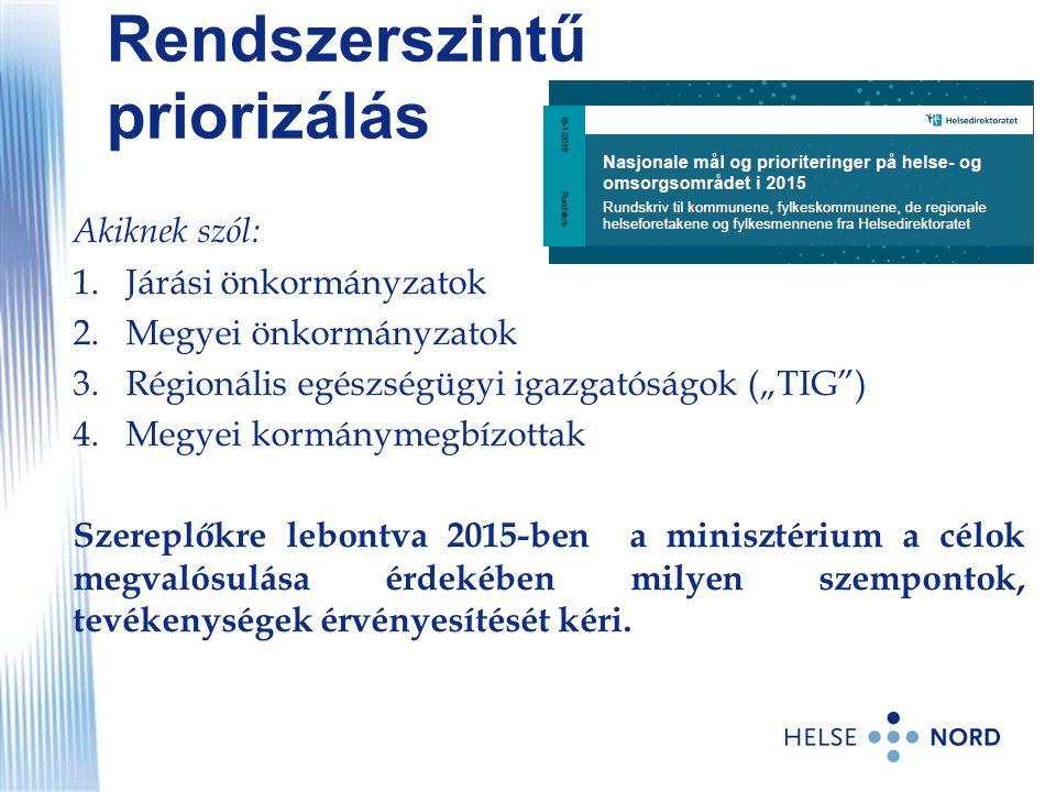 """Rendszerszintű priorizálás Akiknek szól: 1.Járási önkormányzatok 2.Megyei önkormányzatok 3.Régionális egészségügyi igazgatóságok (""""TIG"""") 4.Megyei korm"""