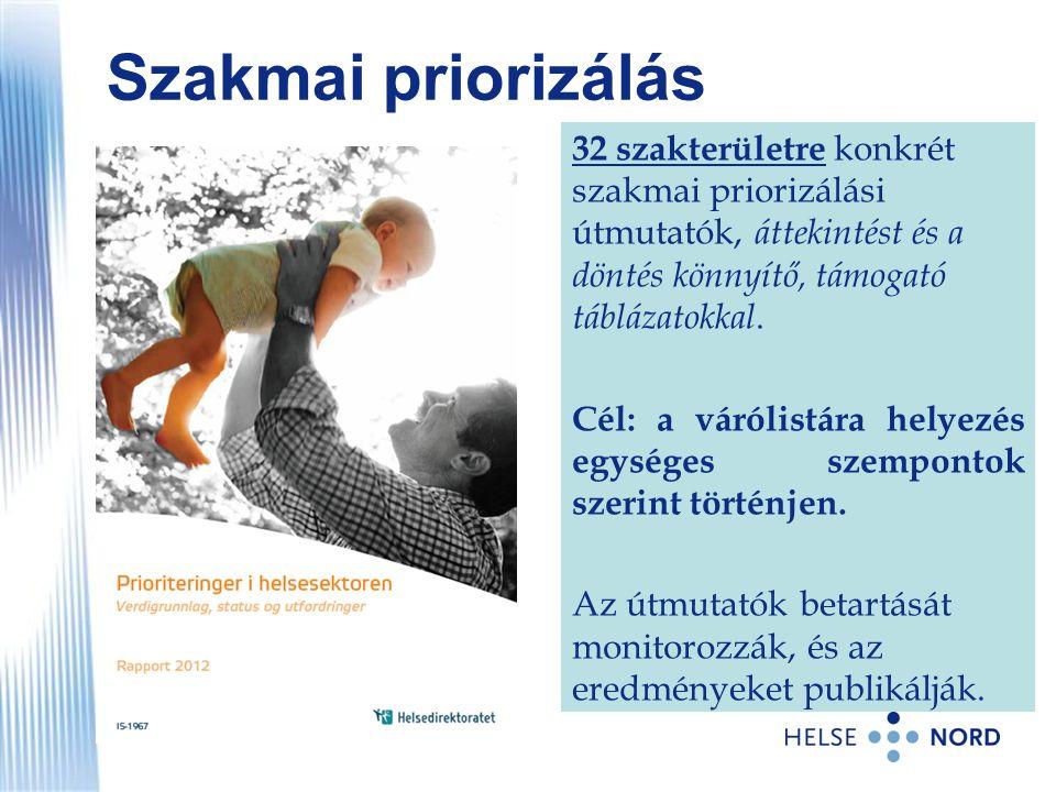 Szakmai priorizálás 32 szakterületre konkrét szakmai priorizálási útmutatók, áttekintést és a döntés könnyítő, támogató táblázatokkal. Cél: a várólist