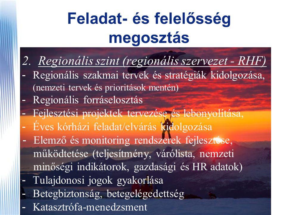 Feladat- és felelősség megosztás 2.Regionális szint (regionális szervezet - RHF) - Regionális szakmai tervek és stratégiák kidolgozása, (nemzeti terve
