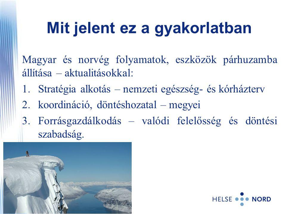 Magyar és norvég folyamatok, eszközök párhuzamba állítása – aktualitásokkal: 1.Stratégia alkotás – nemzeti egészség- és kórházterv 2.koordináció, dönt