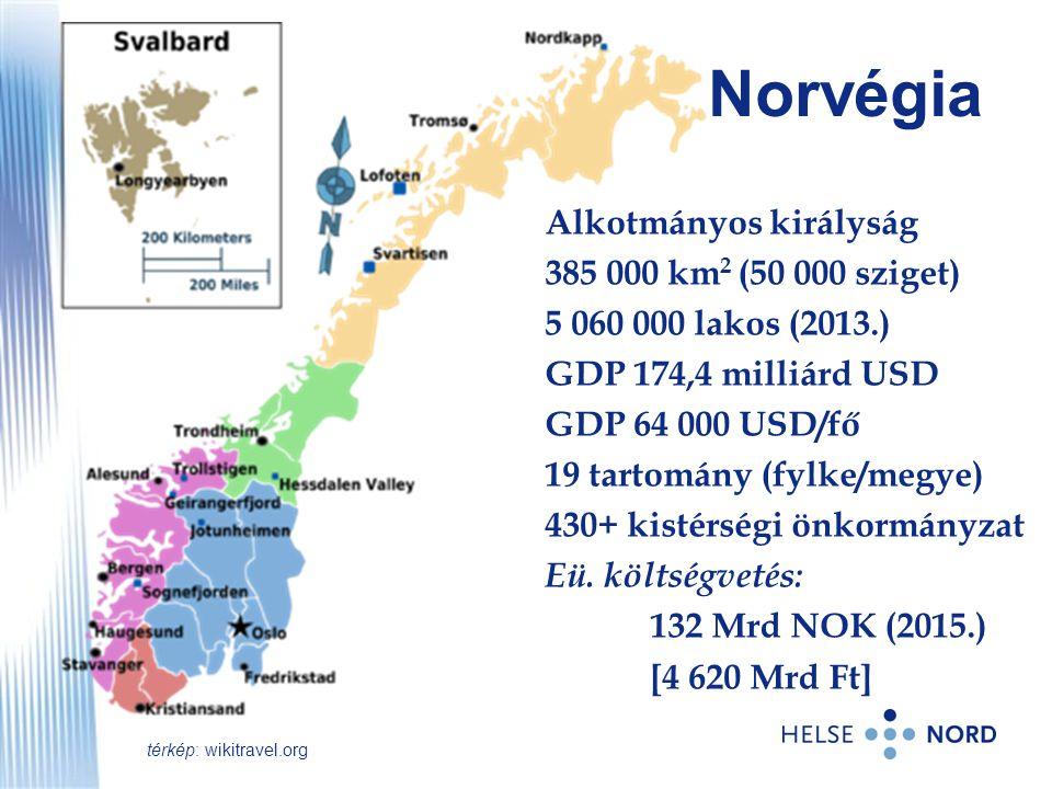 Norvégia Alkotmányos királyság 385 000 km 2 (50 000 sziget) 5 060 000 lakos (2013.) GDP 174,4 milliárd USD GDP 64 000 USD/fő 19 tartomány (fylke/megye