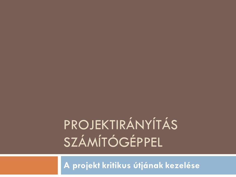 PROJEKTIRÁNYÍTÁS SZÁMÍTÓGÉPPEL A projekt kritikus útjának kezelése