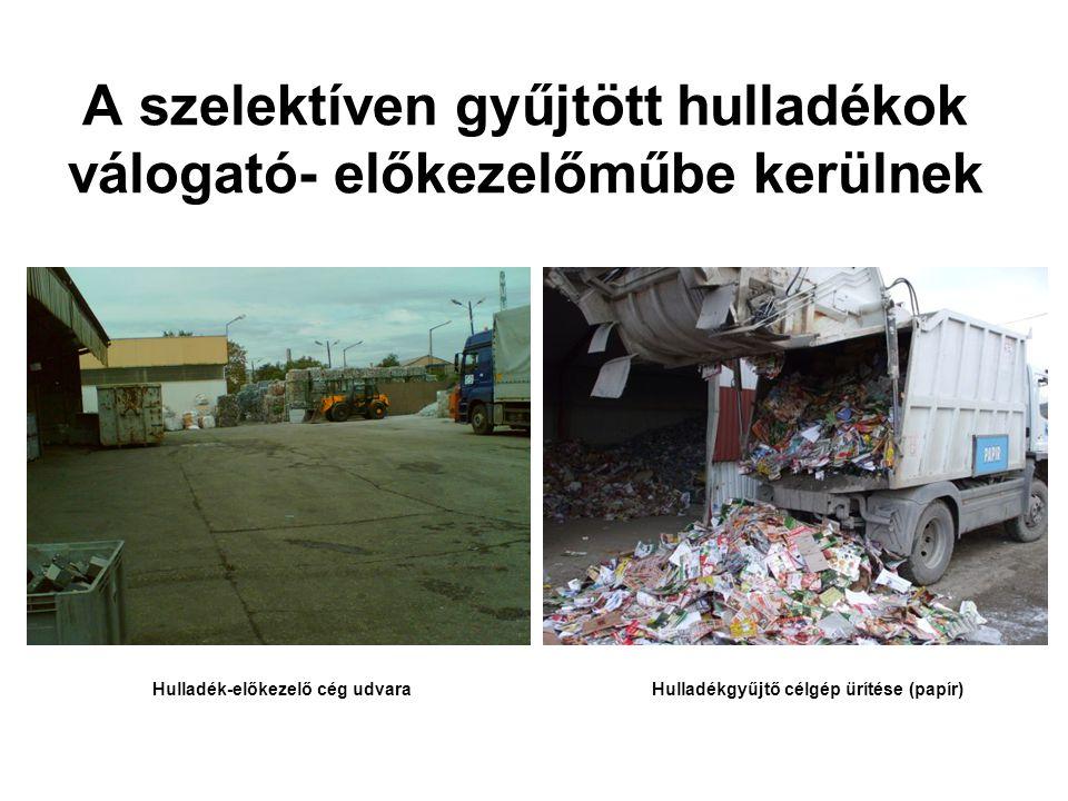 A szelektíven gyűjtött hulladékok válogató- előkezelőműbe kerülnek Hulladék-előkezelő cég udvaraHulladékgyűjtő célgép ürítése (papír)