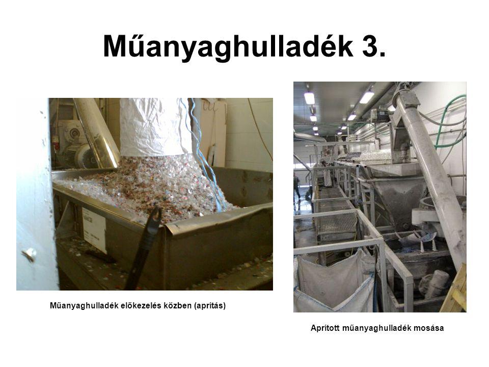 Műanyaghulladék 3. Műanyaghulladék előkezelés közben (aprítás) Aprított műanyaghulladék mosása