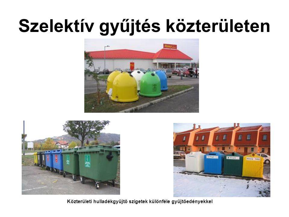 Szelektív gyűjtés közterületen Közterületi hulladékgyűjtő szigetek különféle gyűjtőedényekkel