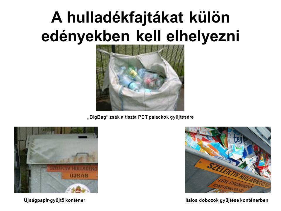 """A hulladékfajtákat külön edényekben kell elhelyezni Újságpapír-gyűjtő konténerItalos dobozok gyűjtése konténerben """"BigBag zsák a tiszta PET palackok gyűjtésére"""