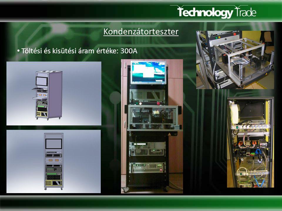 Kondenzátorteszter Töltési és kisütési áram értéke: 300A