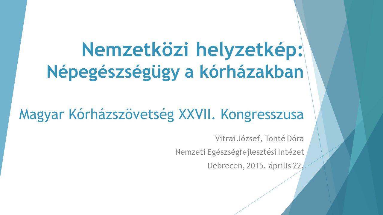 Nemzetközi helyzetkép: Népegészségügy a kórházakban Magyar Kórházszövetség XXVII. Kongresszusa Vitrai József, Tonté Dóra Nemzeti Egészségfejlesztési I