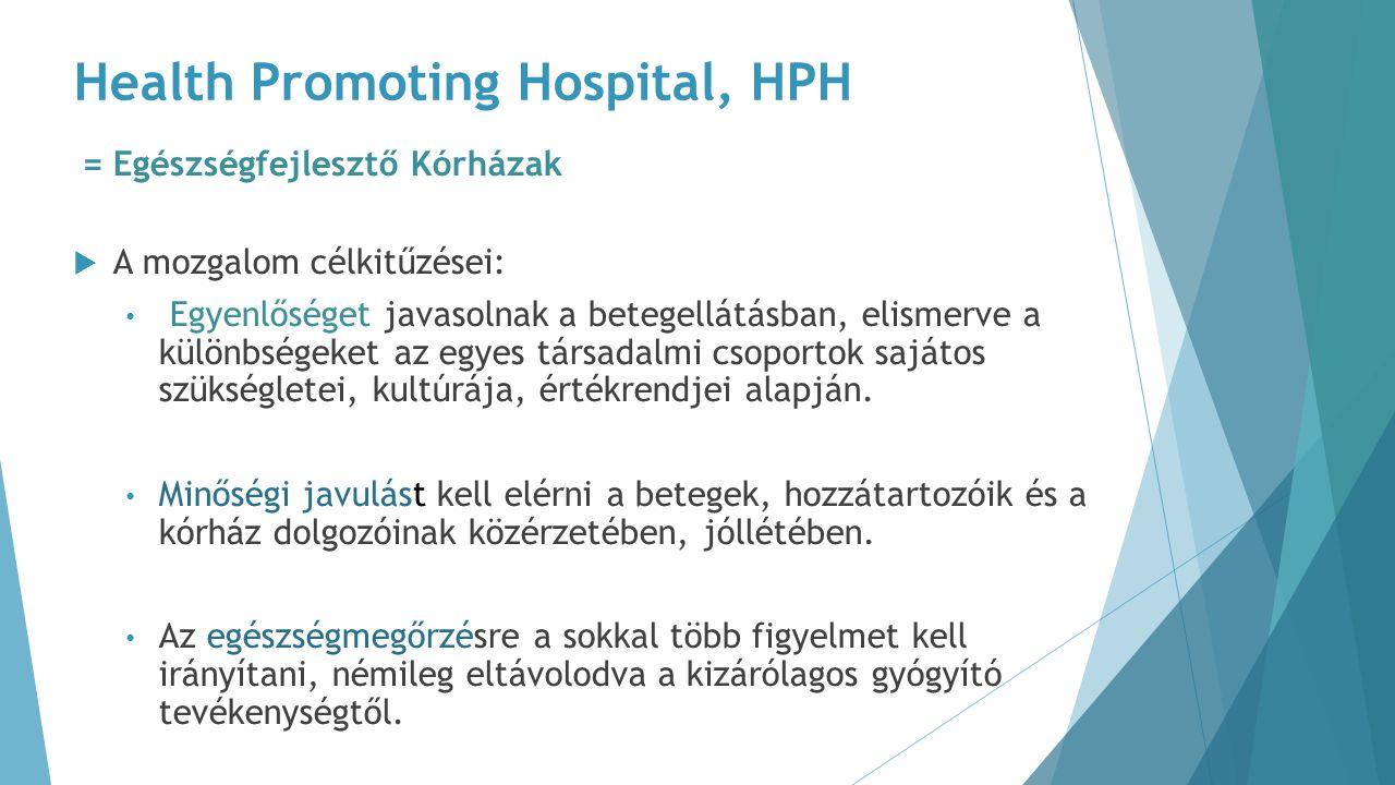 Health Promoting Hospital, HPH = Egészségfejlesztő Kórházak  A mozgalom célkitűzései: Egyenlőséget javasolnak a betegellátásban, elismerve a különbsé