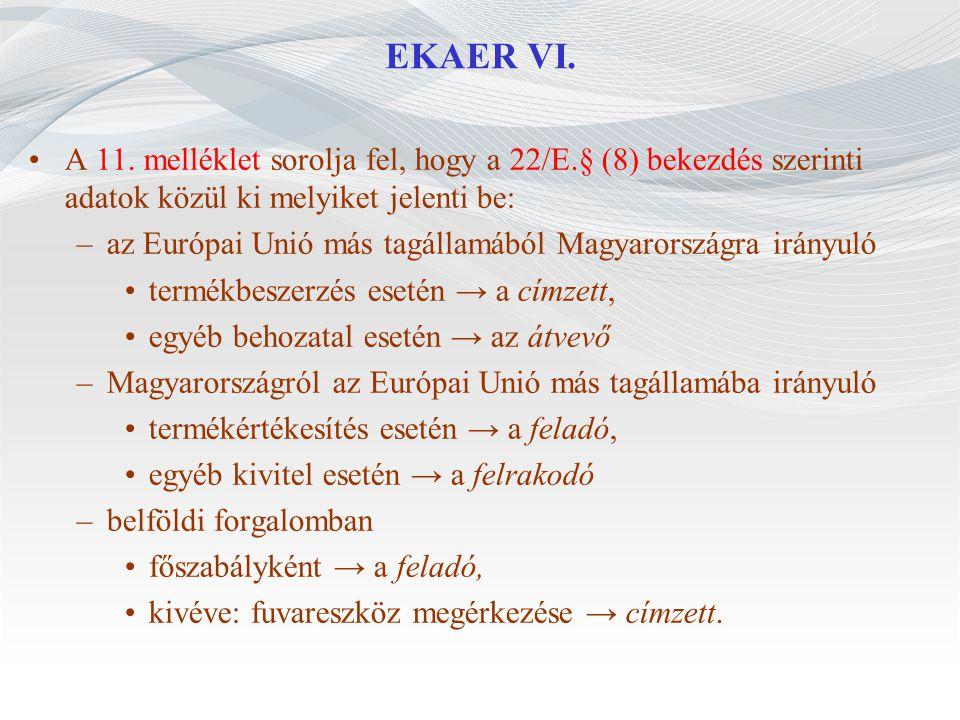 EKAER VI. A 11. melléklet sorolja fel, hogy a 22/E.§ (8) bekezdés szerinti adatok közül ki melyiket jelenti be: –az Európai Unió más tagállamából Magy