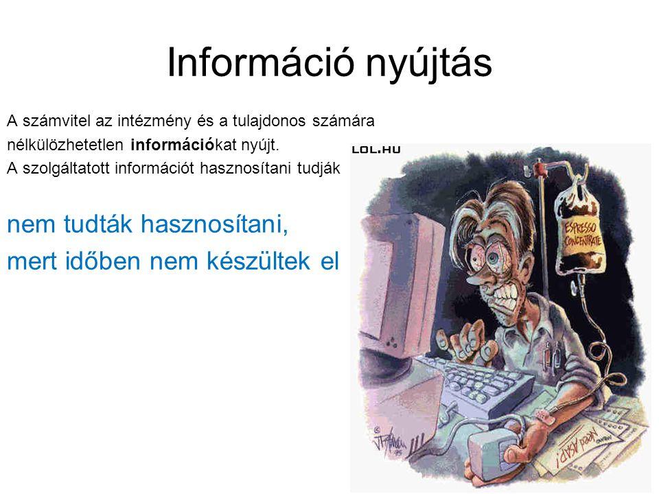 Információ nyújtás A számvitel az intézmény és a tulajdonos számára nélkülözhetetlen információkat nyújt. A szolgáltatott információt hasznosítani tud