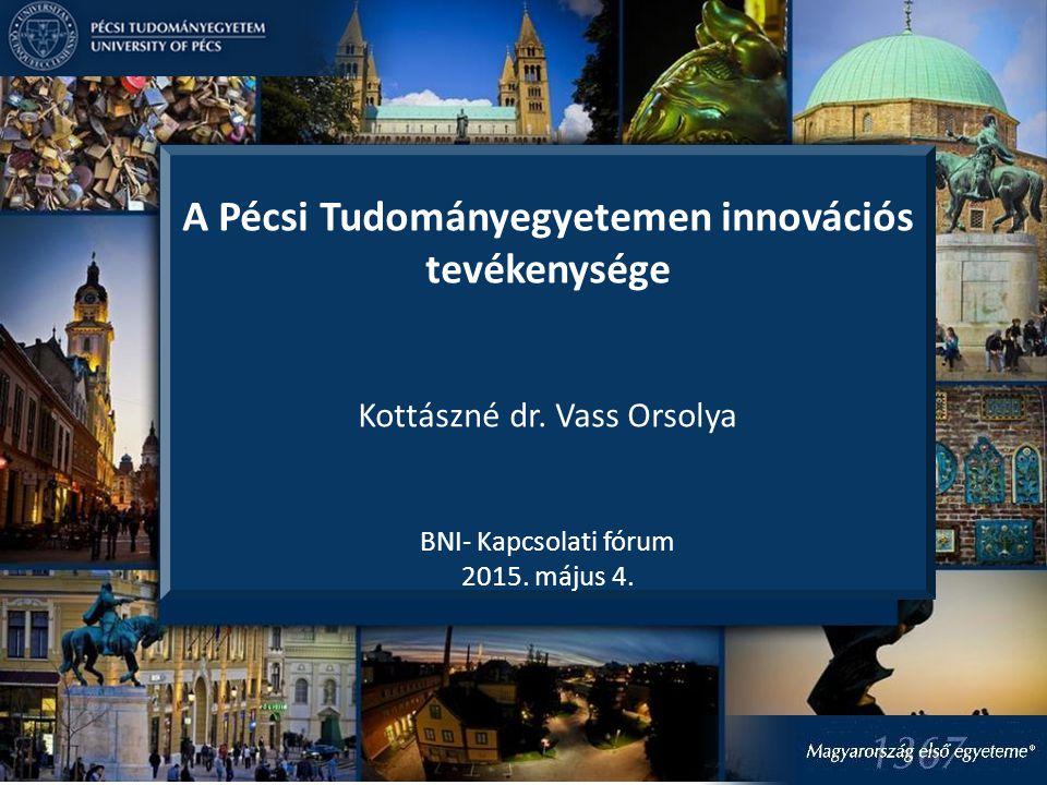 A Pécsi Tudományegyetemen innovációs tevékenysége Kottászné dr.