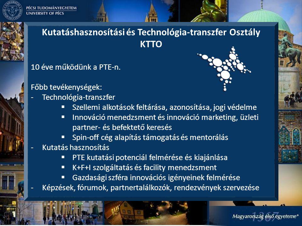 Kutatáshasznosítási és Technológia-transzfer Osztály KTTO 10 éve működünk a PTE-n.