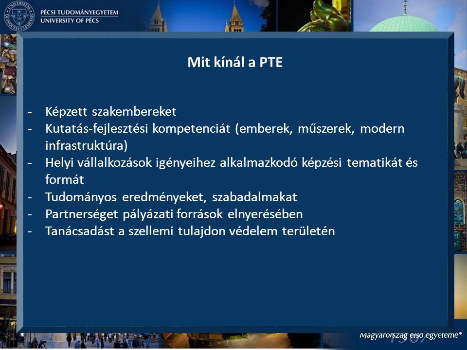 Mit kínál a PTE -Képzett szakembereket -Kutatás-fejlesztési kompetenciát (emberek, műszerek, modern infrastruktúra) -Helyi vállalkozások igényeihez alkalmazkodó képzési tematikát és formát -Tudományos eredményeket, szabadalmakat -Partnerséget pályázati források elnyerésében -Tanácsadást a szellemi tulajdon védelem területén
