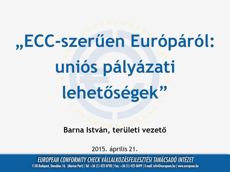 """""""ECC-szerűen Európáról: uniós pályázati lehetőségek"""" Barna István, területi vezető 2015. április 21."""