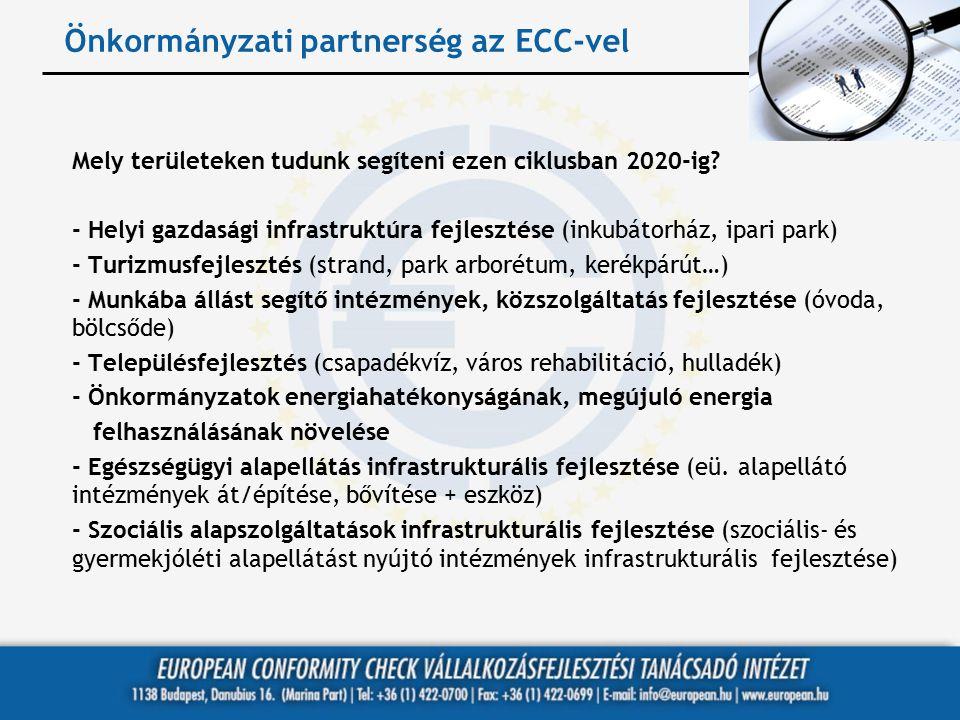 Önkormányzati partnerség az ECC-vel Mely területeken tudunk segíteni ezen ciklusban 2020-ig? - Helyi gazdasági infrastruktúra fejlesztése (inkubátorhá