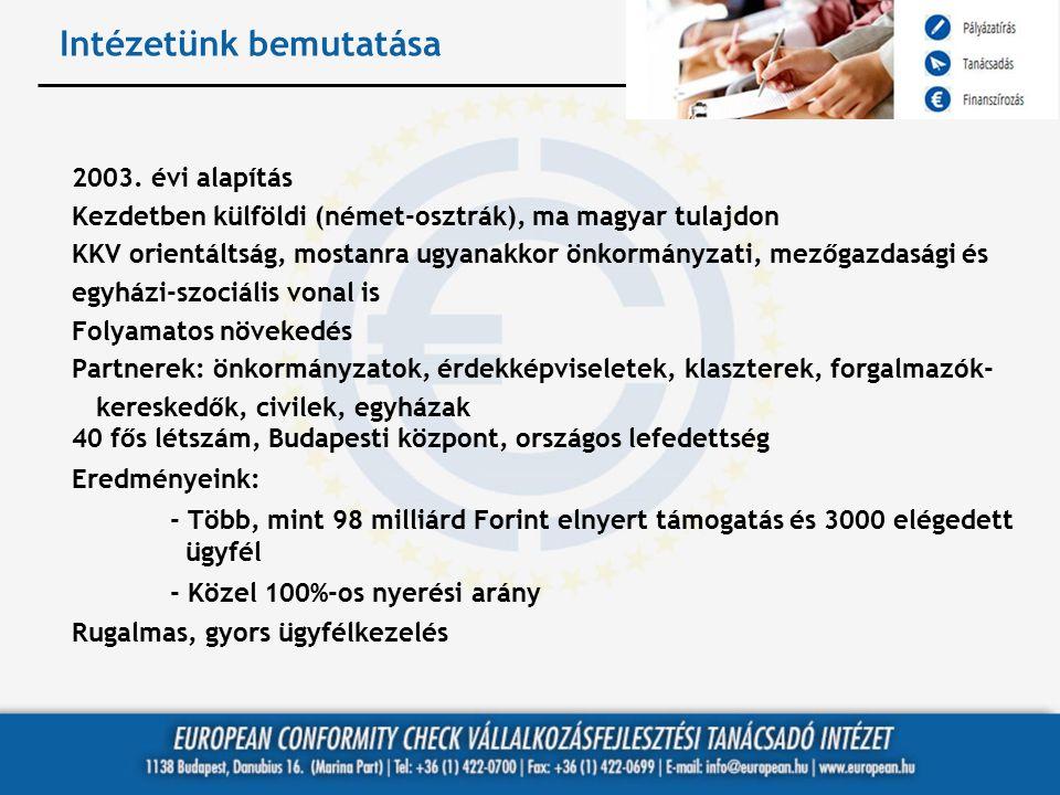 Intézetünk bemutatása 2003. évi alapítás Kezdetben külföldi (német-osztrák), ma magyar tulajdon KKV orientáltság, mostanra ugyanakkor önkormányzati, m