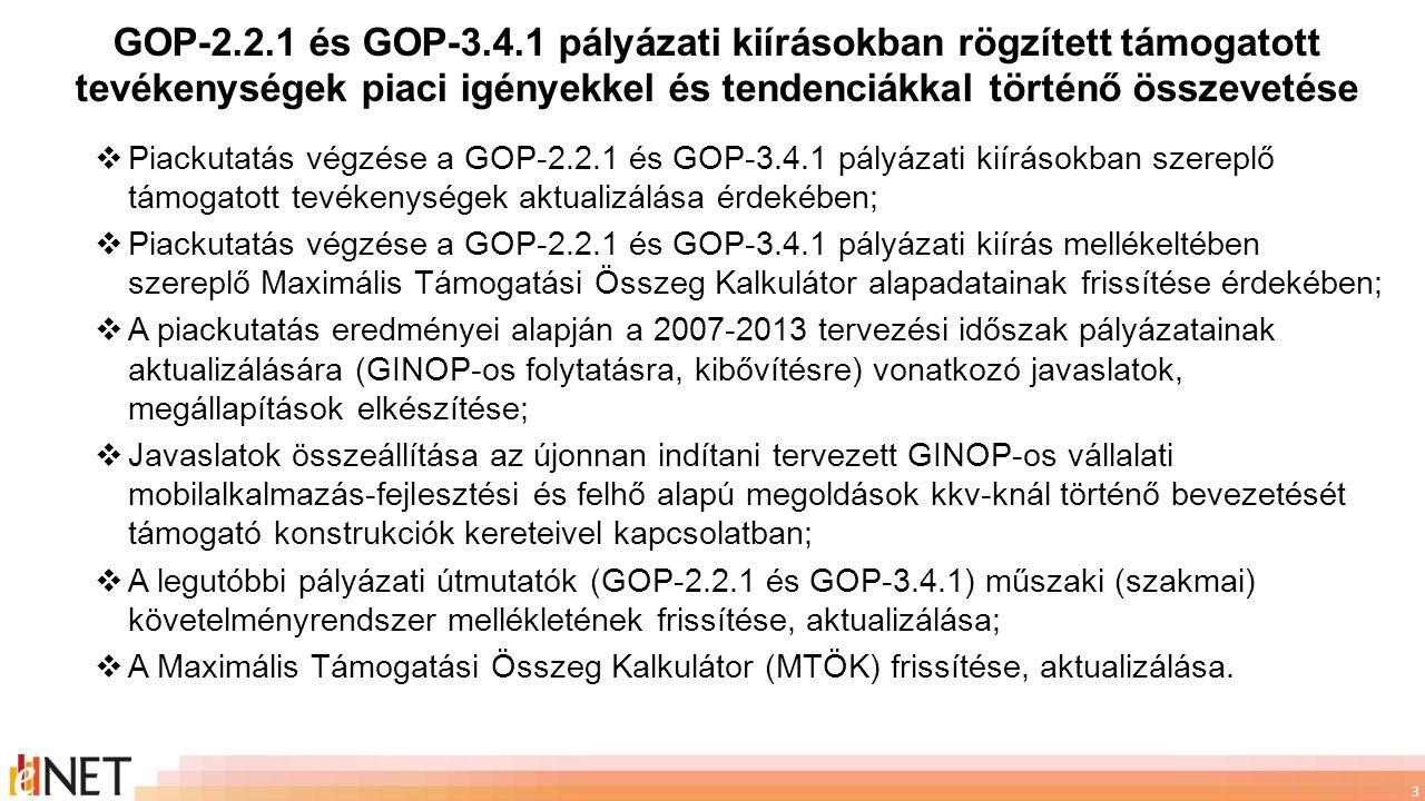 3  Piackutatás végzése a GOP-2.2.1 és GOP-3.4.1 pályázati kiírásokban szereplő támogatott tevékenységek aktualizálása érdekében;  Piackutatás végzés