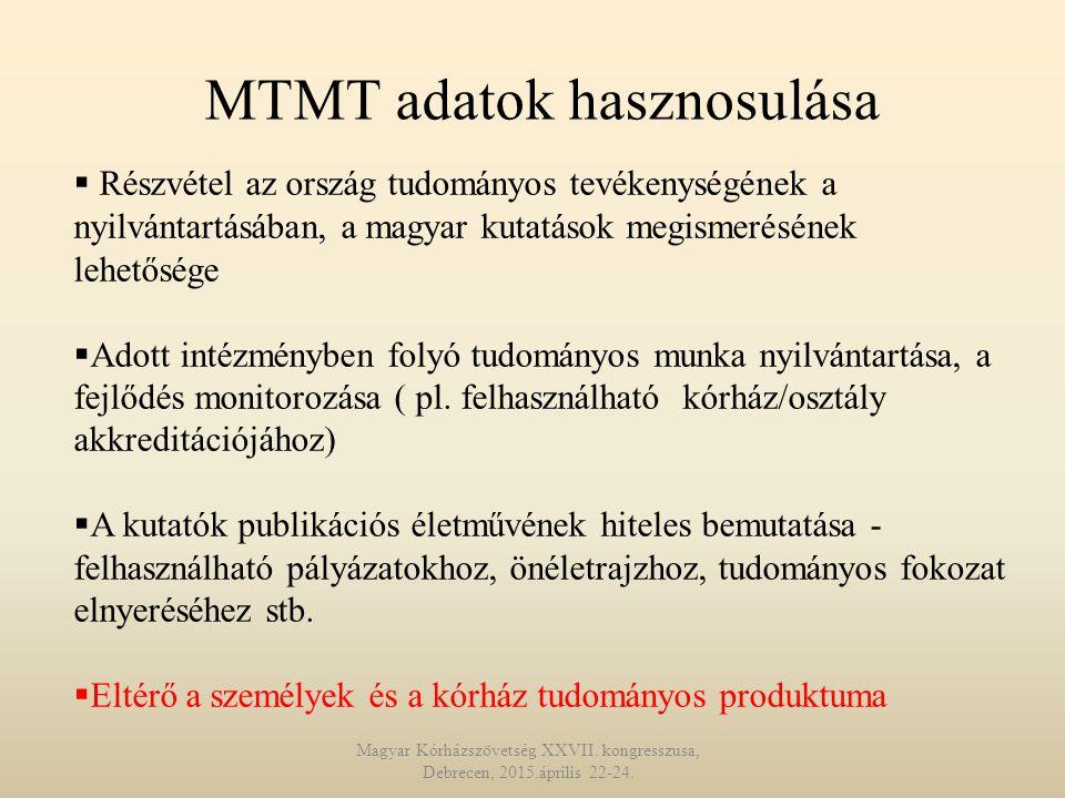 MTMT adatok hasznosulása  Részvétel az ország tudományos tevékenységének a nyilvántartásában, a magyar kutatások megismerésének lehetősége  Adott intézményben folyó tudományos munka nyilvántartása, a fejlődés monitorozása ( pl.