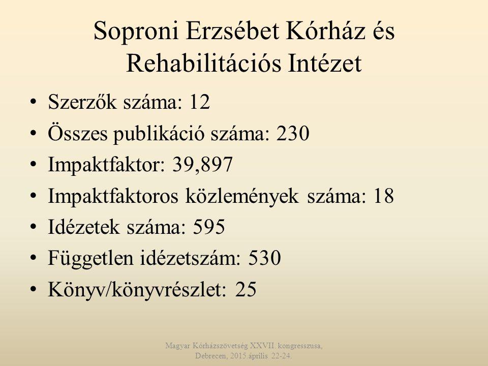 Soproni Erzsébet Kórház és Rehabilitációs Intézet Szerzők száma: 12 Összes publikáció száma: 230 Impaktfaktor: 39,897 Impaktfaktoros közlemények száma: 18 Idézetek száma: 595 Független idézetszám: 530 Könyv/könyvrészlet: 25 Magyar Kórházszövetség XXVII.