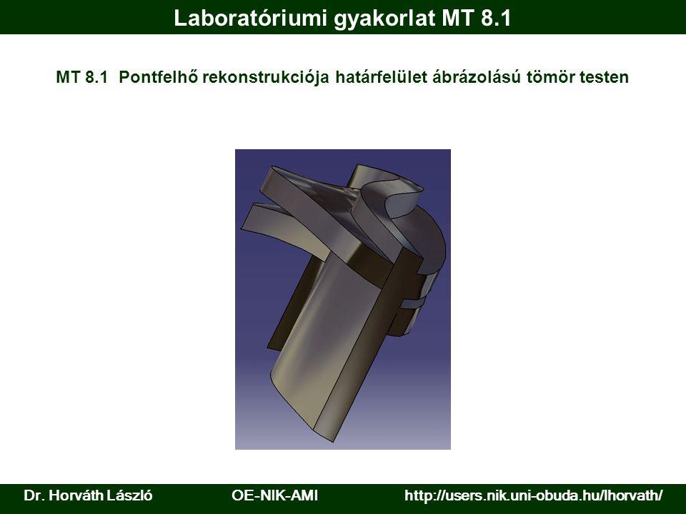 Laboratóriumi gyakorlat MT 8.1 MT 8.1 Pontfelhő rekonstrukciója határfelület ábrázolású tömör testen