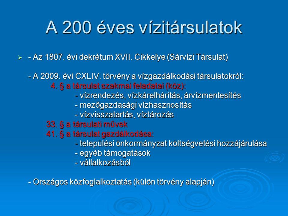 A 200 éves vízitársulatok  - Az 1807. évi dekrétum XVII. Cikkelye (Sárvízi Társulat) - A 2009. évi CXLIV. törvény a vízgazdálkodási társulatokról: 4.