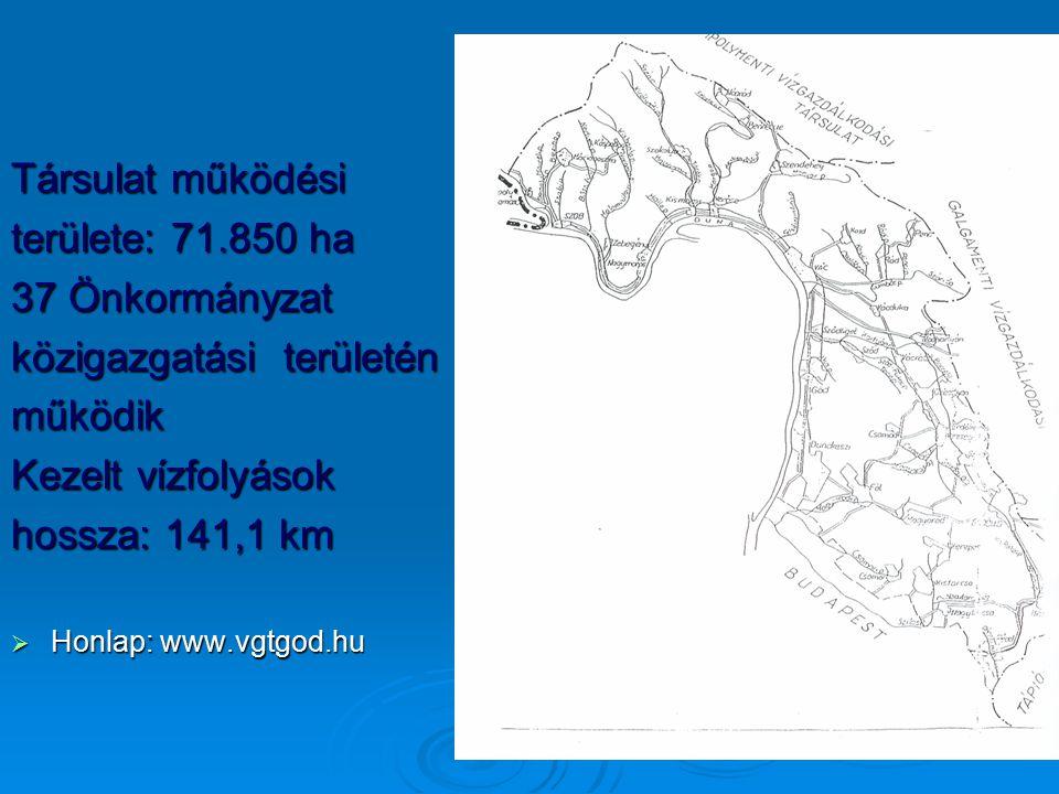 Társulat működési területe: 71.850 ha 37 Önkormányzat közigazgatási területén működik Kezelt vízfolyások hossza: 141,1 km  Honlap: www.vgtgod.hu